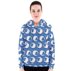 Sheep Pattern Wallpaper Vector Women s Zipper Hoodie