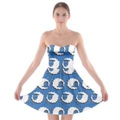 Sheep Pattern Wallpaper Vector Strapless Bra Top Dress