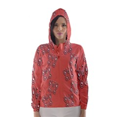 Butterfly Pink Pattern Wallpaper Hooded Wind Breaker (women)