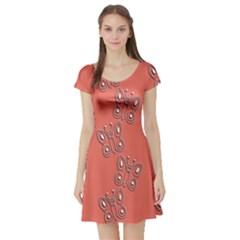Butterfly Pink Pattern Wallpaper Short Sleeve Skater Dress