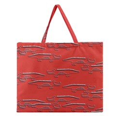 Crocodile Alligator Pattern Zipper Large Tote Bag