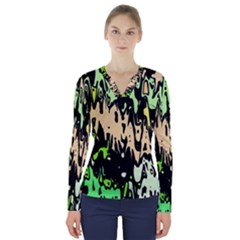 Modern Abstract 46c V Neck Long Sleeve Top