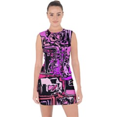 Modern Abstract 47b Lace Up Front Bodycon Dress