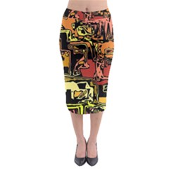Modern Abstract 47c Midi Pencil Skirt