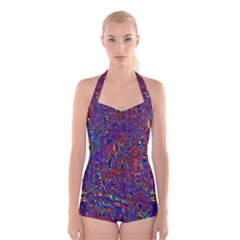Modern Abstract 45a Boyleg Halter Swimsuit