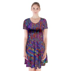 Modern Abstract 45a Short Sleeve V Neck Flare Dress