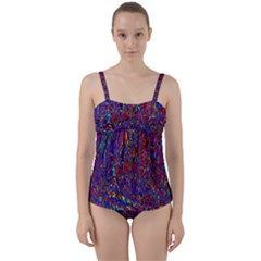 Modern Abstract 45a Twist Front Tankini Set