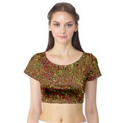 Modern Abstract 45c Short Sleeve Crop Top (tight Fit)