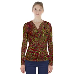 Modern Abstract 45c V Neck Long Sleeve Top