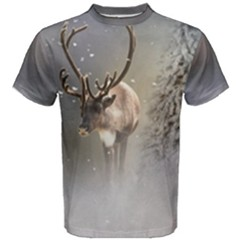Santa Claus Reindeer In The Snow Men s Cotton Tee