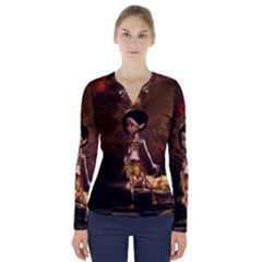 Steampunk, Cute Little Steampunk Girl In The Night With Clocks V Neck Long Sleeve Top