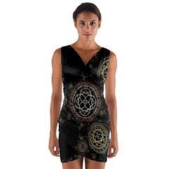 Abstraction Fractal Patterns Circles  Wrap Front Bodycon Dress