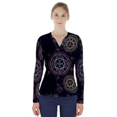 Abstraction Fractal Patterns Circles  V Neck Long Sleeve Top