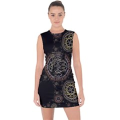 Abstraction Fractal Patterns Circles  Lace Up Front Bodycon Dress