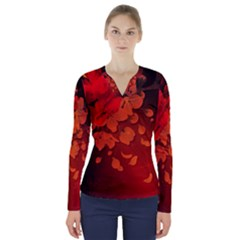 Cherry Blossom, Red Colors V Neck Long Sleeve Top