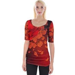 Cherry Blossom, Red Colors Wide Neckline Tee