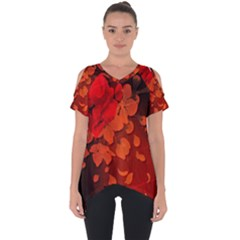 Cherry Blossom, Red Colors Cut Out Side Drop Tee