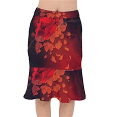 Cherry Blossom, Red Colors Mermaid Skirt