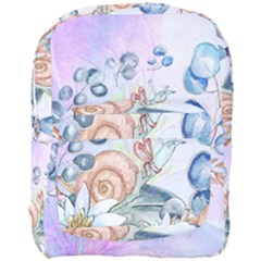 Snail And Waterlily, Watercolor Full Print Backpack