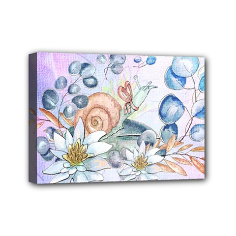 Snail And Waterlily, Watercolor Mini Canvas 7  X 5