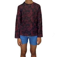 Dark Red Flourish Kids  Long Sleeve Swimwear