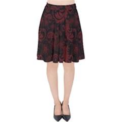 Dark Red Flourish Velvet High Waist Skirt