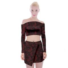 Dark Red Flourish Off Shoulder Top With Skirt Set