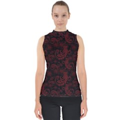Dark Red Flourish Shell Top