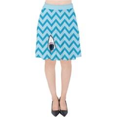 Chevron Shark Pattern Velvet High Waist Skirt