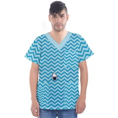 Chevron Shark Pattern Men s V Neck Scrub Top