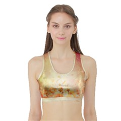 Flower Power, Cherry Blossom Sports Bra With Border