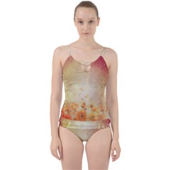 Flower Power, Cherry Blossom Cut Out Top Tankini Set