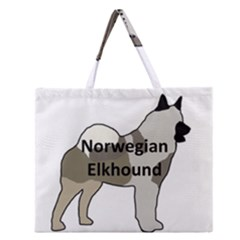 Norwegian Elkhound Name Silo Color Zipper Large Tote Bag