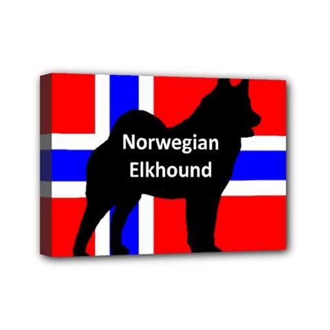 Norwegian Elkhound Name Silo On Norway Flag Mini Canvas 7  X 5