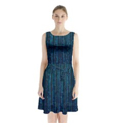 Stylish Abstract Blue Strips Sleeveless Waist Tie Chiffon Dress