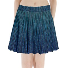 Stylish Abstract Blue Strips Pleated Mini Skirt