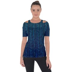 Stylish Abstract Blue Strips Short Sleeve Top
