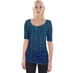 Stylish Abstract Blue Strips Wide Neckline Tee