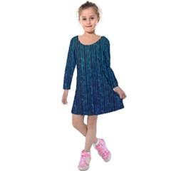 Stylish Abstract Blue Strips Kids  Long Sleeve Velvet Dress