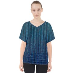 Stylish Abstract Blue Strips V Neck Dolman Drape Top
