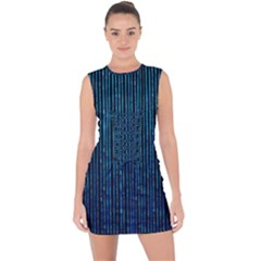 Stylish Abstract Blue Strips Lace Up Front Bodycon Dress