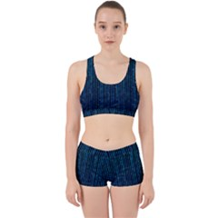 Stylish Abstract Blue Strips Work It Out Sports Bra Set