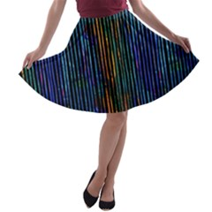 Stylish Colorful Strips A Line Skater Skirt