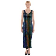 Stylish Colorful Strips Fitted Maxi Dress