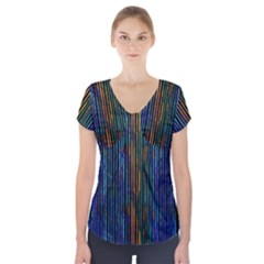 Stylish Colorful Strips Short Sleeve Front Detail Top