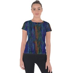 Stylish Colorful Strips Short Sleeve Sports Top