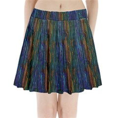 Stylish Colorful Strips Pleated Mini Skirt