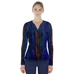 Stylish Colorful Strips V Neck Long Sleeve Top
