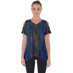 Stylish Colorful Strips Cut Out Side Drop Tee