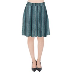 Stylish Frost Blue Strips Velvet High Waist Skirt